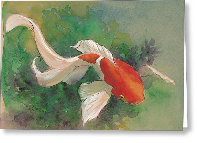 Water Garden Greeting Cards - Curvy Colorful Goldfish Greeting Card by Tracie Thompson