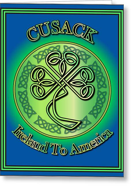 Cusack Ireland To America Greeting Card by Ireland Calling