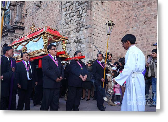 Holy Week Greeting Cards - Cusco Good Friday Procession Greeting Card by James Brunker