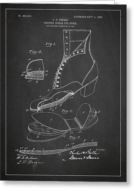 Footwear Greeting Cards - Cushion Insole For shoes Patent Drawing From 1905 Greeting Card by Aged Pixel