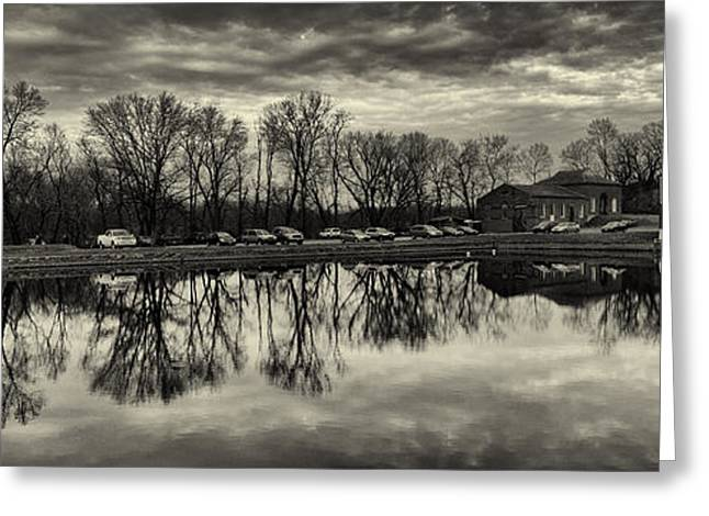 Cushwa Basin C And O Canal Black And White Greeting Card by Joshua House