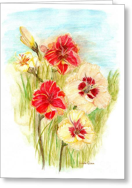 Sunset Greeting Cards Drawings Greeting Cards - Custard Candy and Mango Orange Day Lilies Greeting Card by Linda Ginn