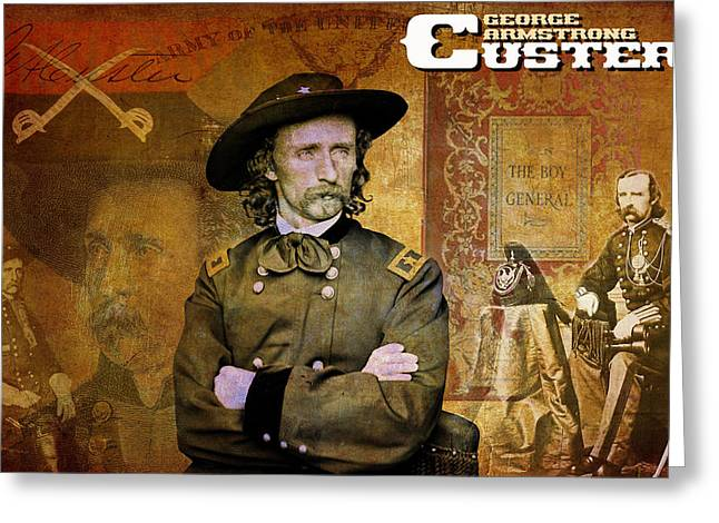Last Stand Greeting Cards - Custer Greeting Card by Greg Sharpe