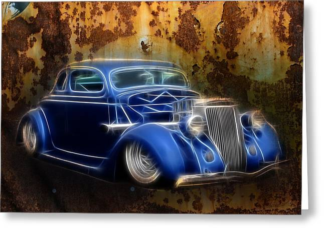 Graffitti Coupe Greeting Cards - Custom 36 ford Rust Greeting Card by Steve McKinzie