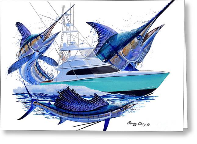 Sportfishing Boats Greeting Cards - Custom Boat Shootout Greeting Card by Carey Chen
