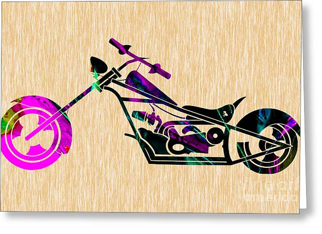 Chopper Greeting Cards - Custom Chopper Motorcycle Greeting Card by Marvin Blaine