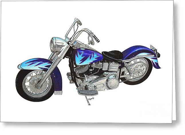 Darren Mixed Media Greeting Cards - Custom Harley Greeting Card by Darren Kopecky
