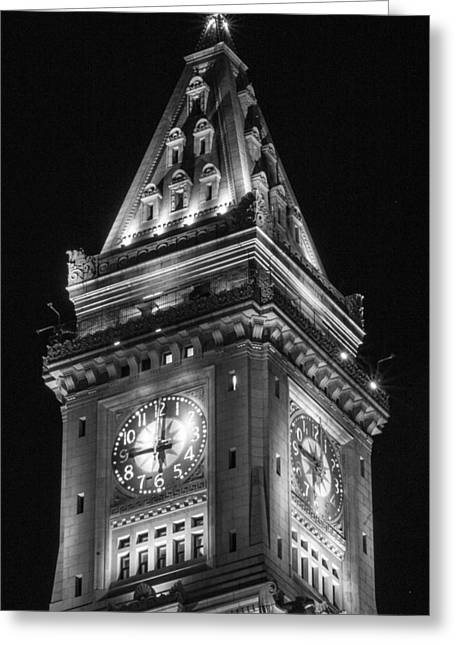 Custom House Tower Greeting Cards - Custom House in Boston Black and White Greeting Card by John McGraw
