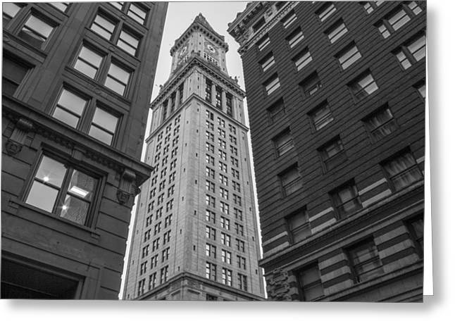 Custom House Tower Greeting Cards - Custom House Tower in Boston Black and White  Greeting Card by John McGraw