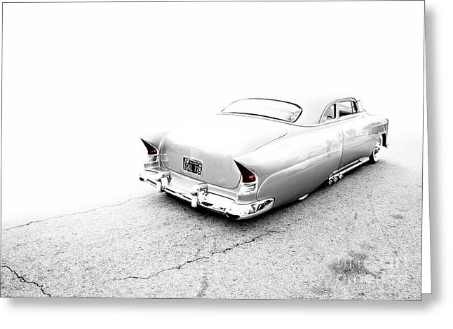 Custom Roadster Greeting Cards - CUSTOM METAL - 1953 CHEVY - CHOPIT KUSTOMS - Metal and Speed Greeting Card by Holly Martin