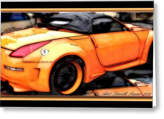 Custom Orange Sports Car Greeting Card by Danielle  Parent