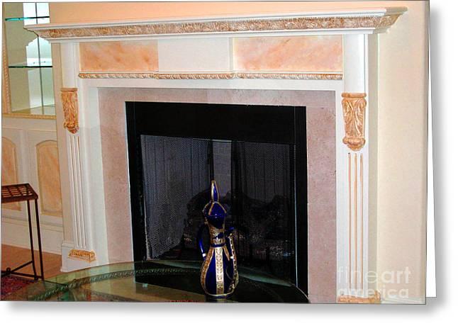 Faux Finish Greeting Cards - Custom Painted Fireplace Greeting Card by Lizi Beard-Ward