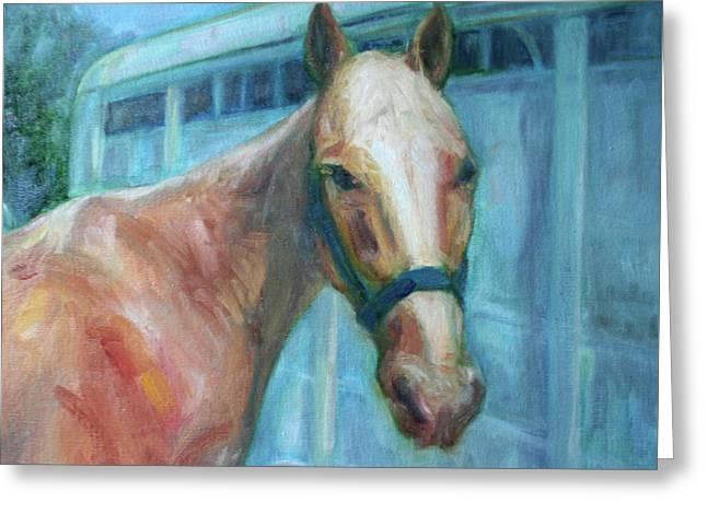 Custom Pet Portrait Painting - Original Artwork -  Horse - Dog - Cat - Bird Greeting Card by Quin Sweetman
