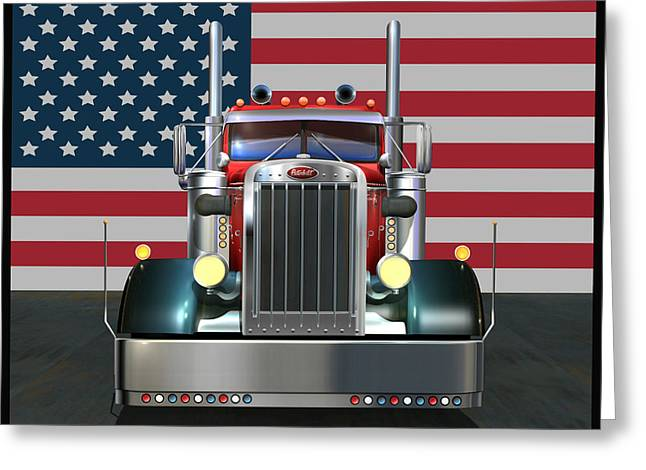 Highway Lights Greeting Cards - Custom Peterbilt 2 Greeting Card by Stuart Swartz
