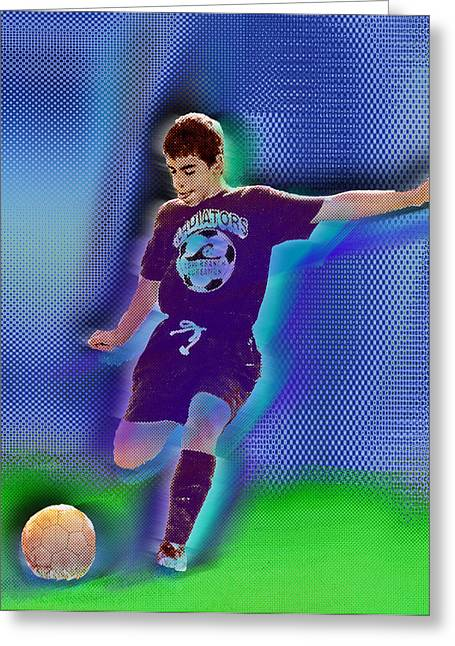 Your Home Mixed Media Greeting Cards - Custom Portrait Family Child Sports Soccer Greeting Card by Tony Rubino