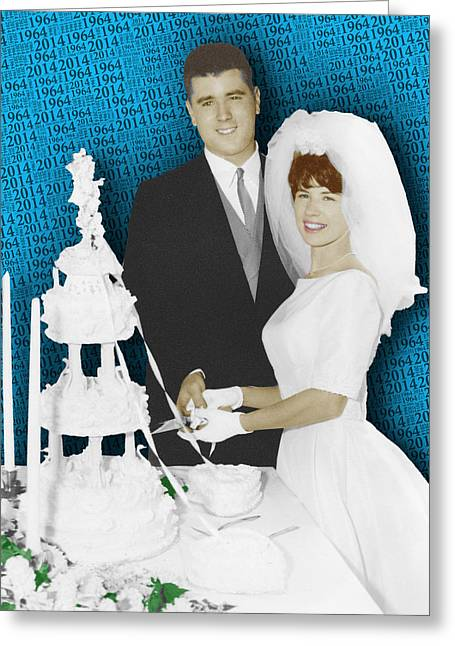 Your Home Mixed Media Greeting Cards - Custom Portrait Wedding Parents Anniversary 2 Greeting Card by Tony Rubino