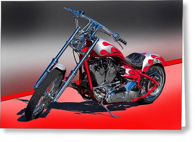 Custom Red Bike Greeting Card by Dave Koontz