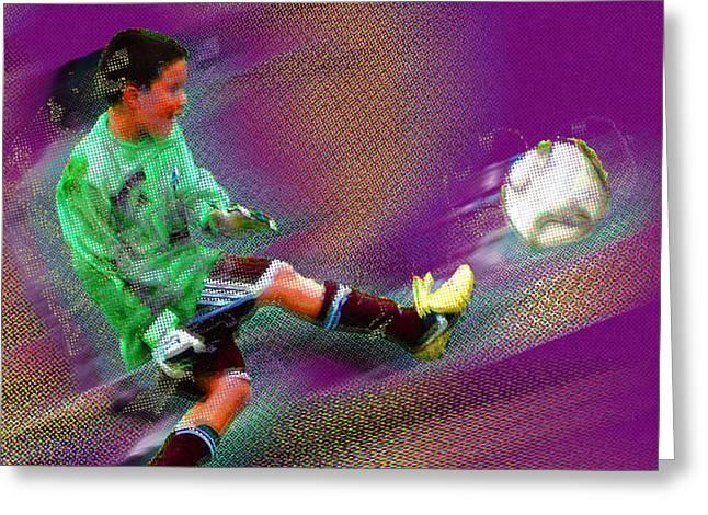 Kids Sports Greeting Cards - Custom Sport Portrait Family 3 Boy 2 Greeting Card by Tony Rubino