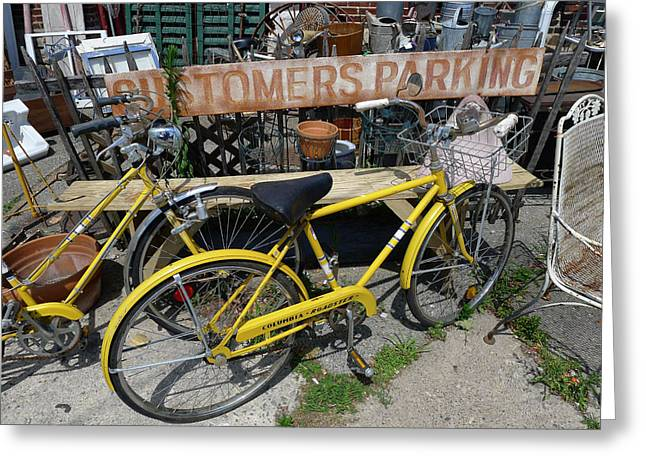 Pushbike Greeting Cards - Customers Parking Greeting Card by Richard Reeve