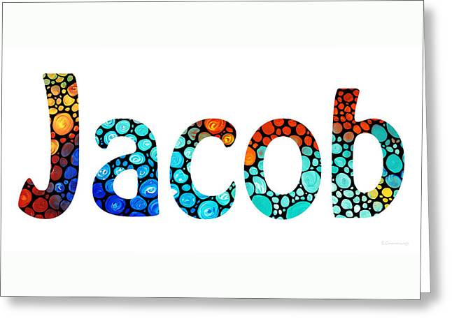 Babies Mixed Media Greeting Cards - Customized Baby Kids Adults Pets Names - Jacob 2 Name Greeting Card by Sharon Cummings