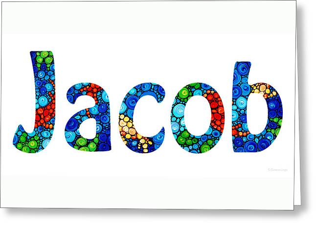 Babies Mixed Media Greeting Cards - Customized Baby Kids Adults Pets Names - Jacob Name Greeting Card by Sharon Cummings