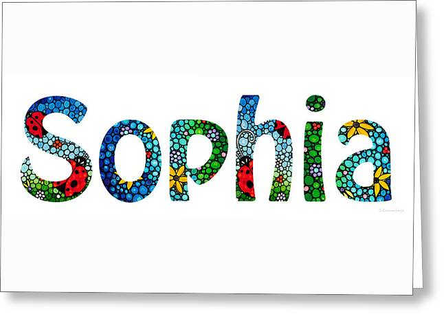 Babies Mixed Media Greeting Cards - Customized Baby Kids Adults Pets Names - Sophia Name Greeting Card by Sharon Cummings
