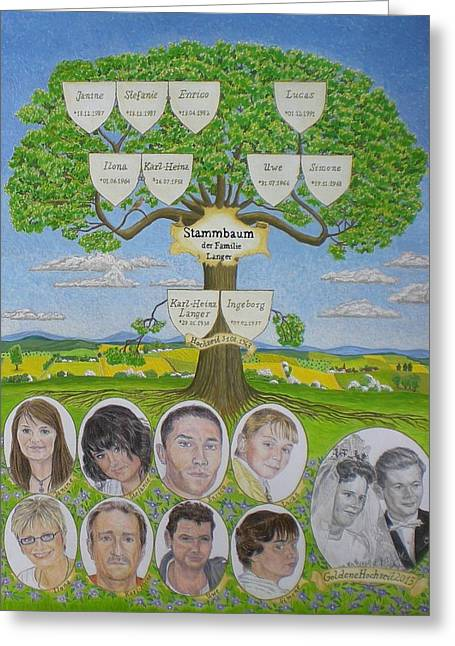 Family Tree Greeting Cards - Customized family tree Wedding anniversary Greeting Card by Alix Mordant