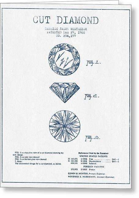 Gemstone Greeting Cards - Cut Diamond Patent From 1966 - Blue Ink Greeting Card by Aged Pixel