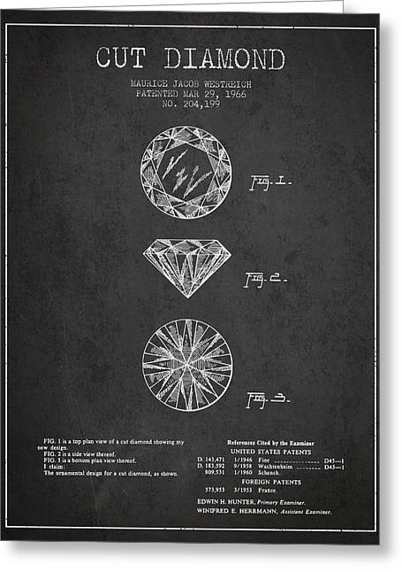 Diamond Digital Greeting Cards - Cut Diamond Patent From 1966 - Dark Greeting Card by Aged Pixel
