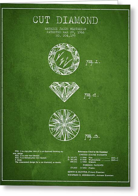 Diamond Digital Greeting Cards - Cut Diamond Patent From 1966 - Green Greeting Card by Aged Pixel