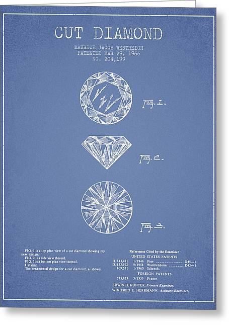 Diamond Digital Greeting Cards - Cut Diamond Patent From 1966 - Light Blue Greeting Card by Aged Pixel