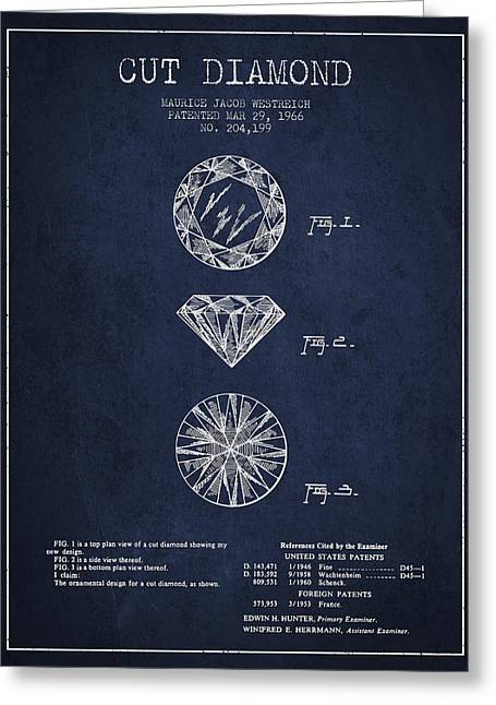 Diamond Digital Greeting Cards - Cut Diamond Patent From 1966 - Navy Blue Greeting Card by Aged Pixel