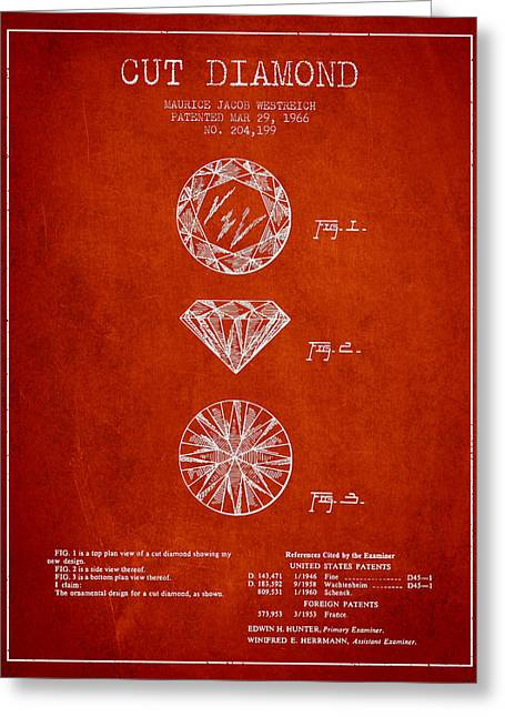 Diamond Digital Greeting Cards - Cut Diamond Patent From 1966 - Red Greeting Card by Aged Pixel