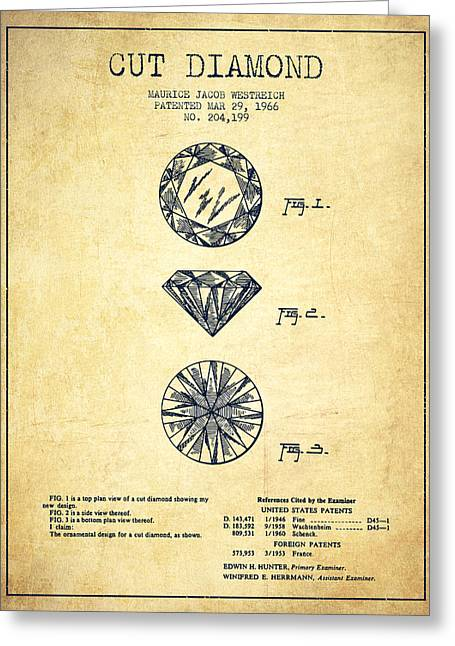 Diamond Digital Greeting Cards - Cut Diamond Patent From 1966 - Vintage Greeting Card by Aged Pixel