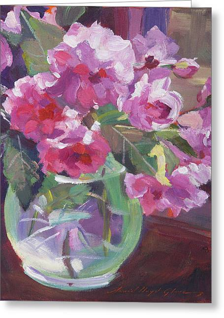 Floral Still Life Greeting Cards - Cut Flowers in Glass Greeting Card by David Lloyd Glover