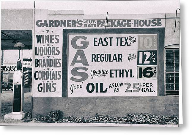 Waco Greeting Cards - CUT RATE LIQUOR and GAS - EAST TEXAS - WACO  1939 Greeting Card by Daniel Hagerman