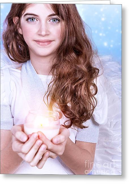 Saint Hope Greeting Cards - Cute angel portrait Greeting Card by Anna Omelchenko