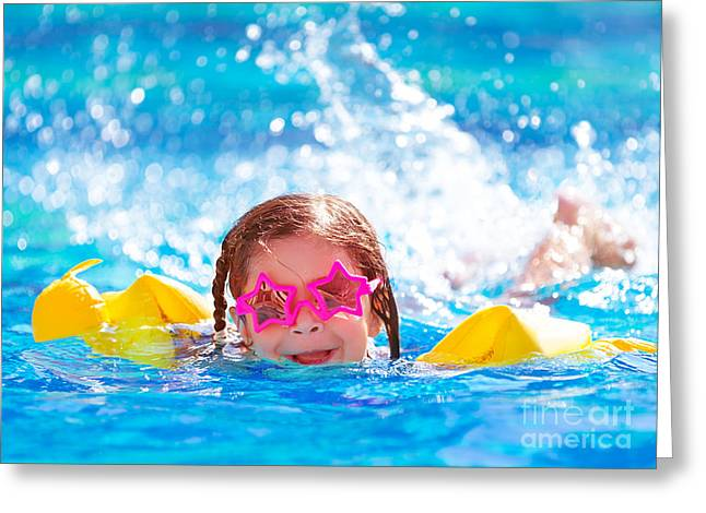 Floating Girl Greeting Cards - Cute arabic girl in the pool Greeting Card by Anna Omelchenko