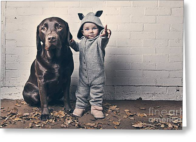 Pet Owner Greeting Cards - Cute Baby with Dog Greeting Card by Justin Paget