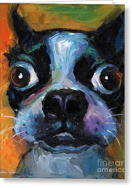 Custom Portraits Greeting Cards - Cute Boston Terrier puppy art Greeting Card by Svetlana Novikova