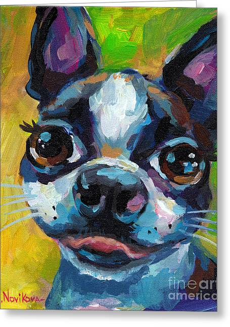 Boston Terrier Greeting Cards - Cute Boston Terrier Puppy Greeting Card by Svetlana Novikova