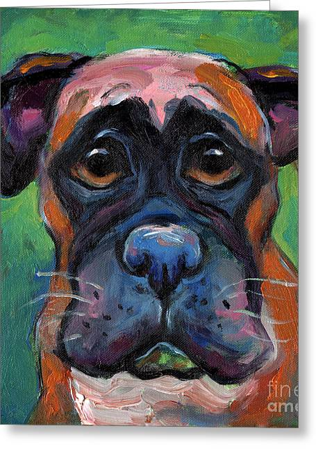 Dog Portraits Greeting Cards - Cute Boxer puppy dog with big eyes painting Greeting Card by Svetlana Novikova