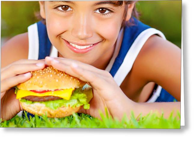 Kid Eating Snack Greeting Cards - Cute boy eat hamburger Greeting Card by Anna Omelchenko