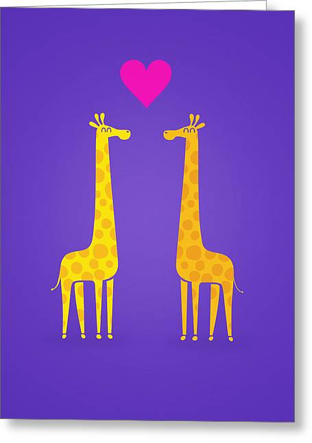 Cute Cartoon Giraffe Couple In Love Purple Edition Greeting Card by Philipp Rietz