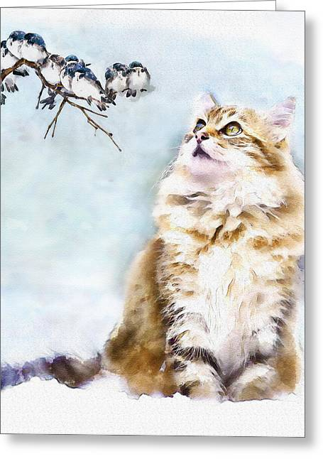 Cute Cat On The Lurk Greeting Card by Marian Voicu
