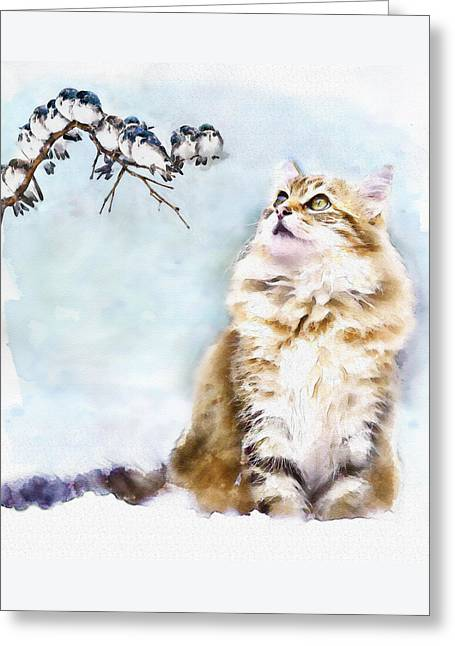Little Birds Greeting Cards - Cute Cat on the Lurk Greeting Card by Marian Voicu
