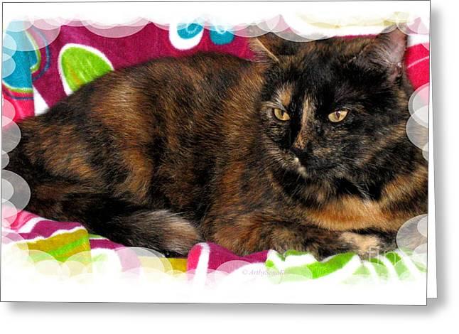 Nice Greeting Cards - Cute cat view Greeting Card by Oksana Semenchenko