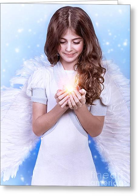 Archangel Greeting Cards - Cute Christmas angel Greeting Card by Anna Omelchenko