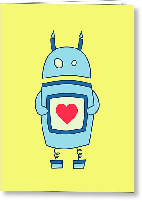 Robots Greeting Cards - Cute Clumsy Robot With Heart Greeting Card by Boriana Giormova