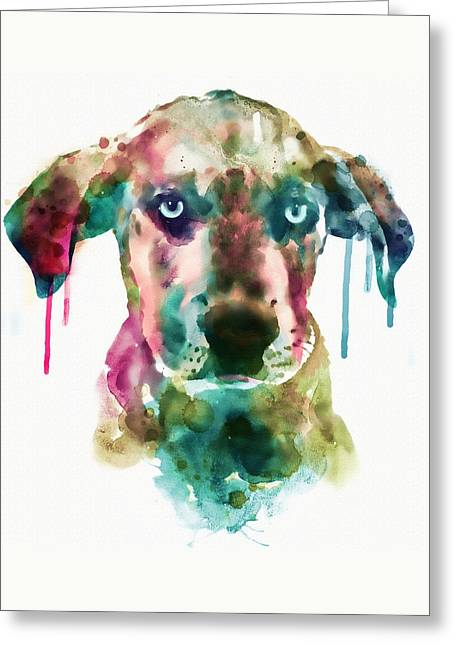 Cute Mixed Media Greeting Cards - Cute Doggy Greeting Card by Marian Voicu